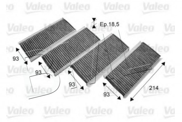BMW SERIES 3 E90/E92/E93 CABIN AIR FILTER OE. PART- 64 31 9 159 606/ 715712VA
