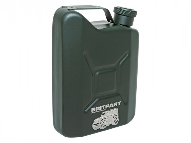 LAND ROVER STAINLESS STEEL JERRY CAN HIP FLASK 142ML CAPACITY. PART - DA8109